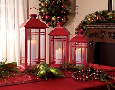 "Set of 3 Red Lanterns for your Christmas Decorating - 14"" to 20"" High"