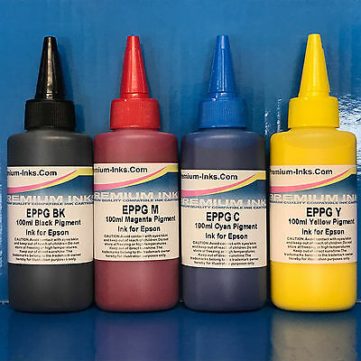 4*100ml PIGMENT INK REFILL BOTTLES FITS EPSON WORKFORCE WF-7610dwf WF-7620dtwf