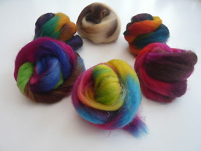 Heidifeathers Space Dyed Wool Mix - Felting and Spinning