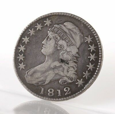 Raw 1812 Capped Bust 50C O-109 Uncertified Ungraded US Silver Half Dollar Coin