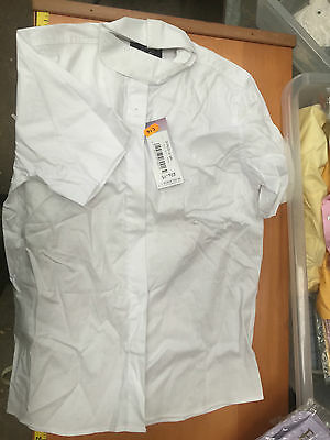 """Equetech 3 in 1 Stock/ Tie Collar Shirt White Short Sleeved Childs 32"""" Ex Disply"""