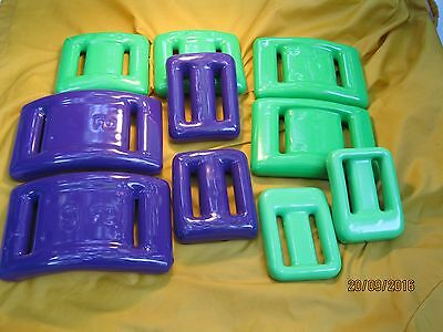 SCUBA DIVE WEIGHTS COATED Neon Green & Purple for BCD or BELT 10 Pieces 29+ Lbs
