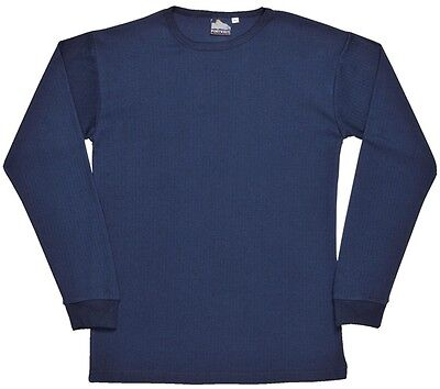 723 Navy Thermal Ls Tshirt Med B123NARM Portwest New