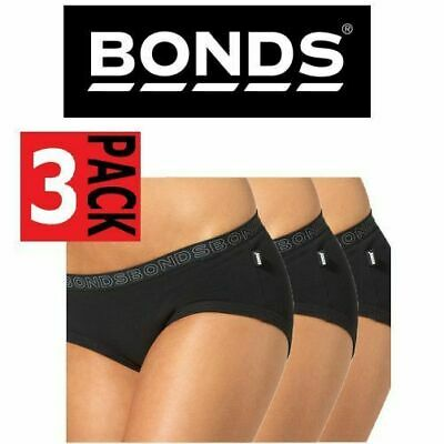 3 x BONDS WOMENS HIPSTER COTTON BOYLEG UNDERWEAR BLACK SIZE 8 10 12 14 16 WYWX