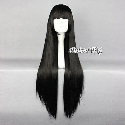 Lolita Black Long 80CM Straight Fashion Cosplay Wig with Bangs + Wig Cap