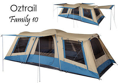 OZTRAIL FAMILY 10 Person (3 ROOM) Dome Family Tent - Sleeps 10
