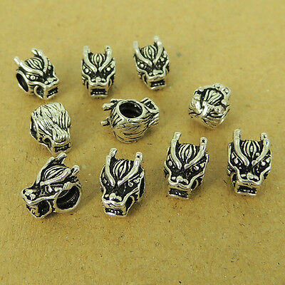925 Sterling Silver Wolf Head Beads Vintage Celtic Jewelry Making Wholesale 242