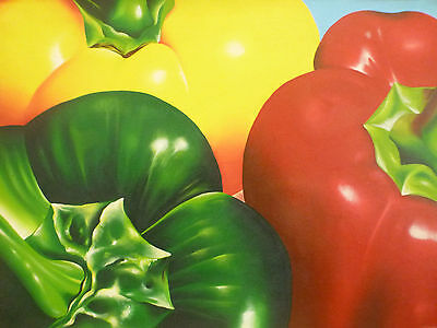"""Capsicum"" Still life vegetable Acrylic Painting Canvas Artwork"