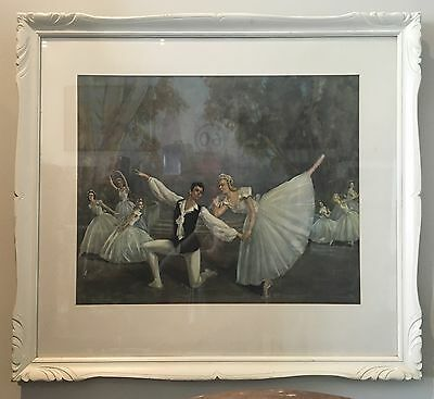 Beautiful Vintage Ballerina Print Decorative Timber Frame Wall Hanging