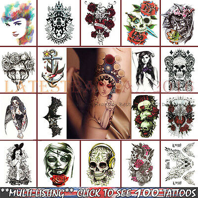 Arm Tattoos Stickers Fake Body Waterproof 3D Removable Temporary Body Art US