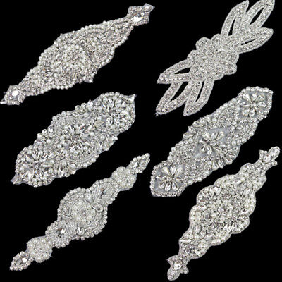 Beaded Pearl Silver Bridal Diamante Motif Rhinestone Wedding Appliques Sew/Iron