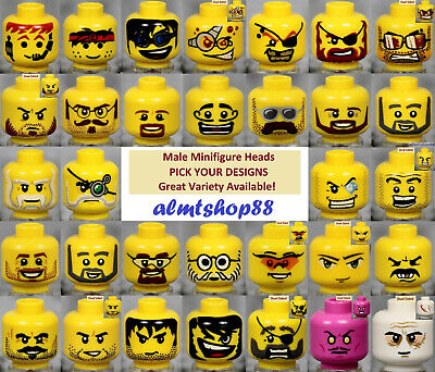 LEGO - MALE Minifigure Heads - PICK YOUR STYLE - Yellow Print Faces Head People