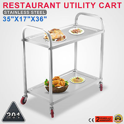 "Stainless Steel Catering Serving Trolley Cart 2 Tier Service 35""X 17"" GREAT"