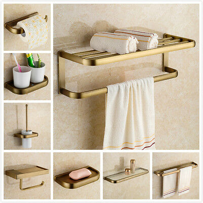 Antique Brass Bathroom Accessories Wall Mounted Towel Rack & Toilet Paper Holder