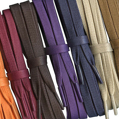 Flat Quality Waxed Cotton Laces - 8mm -  Lengths from 75cm  - 240cm - 10 colours