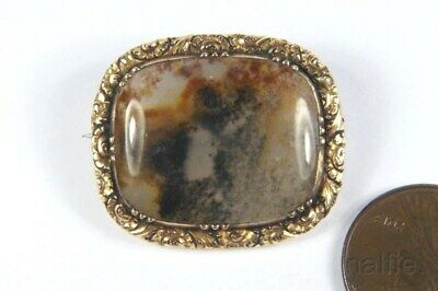ANTIQUE ENGLISH LATE GEORGIAN PERIOD GOLD FILLED AGATE BROOCH c1830