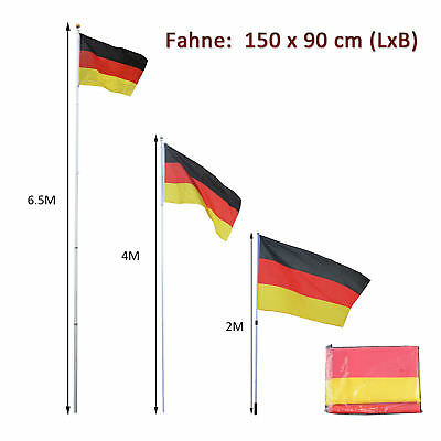 Outsunny Alu Fahnenmast Flaggenmast Deutschlandfahne Nationalflagge Staatsflagge