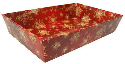 10 x Christmas Gift Basket Hamper Printed Cardboard Tray - RED/GOLD SNOWFLAKES