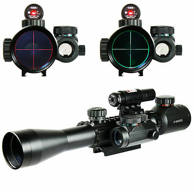3-9X40 Illuminated Tactical Rifle Scope with Red Laser &Telescopic Hunting Sight