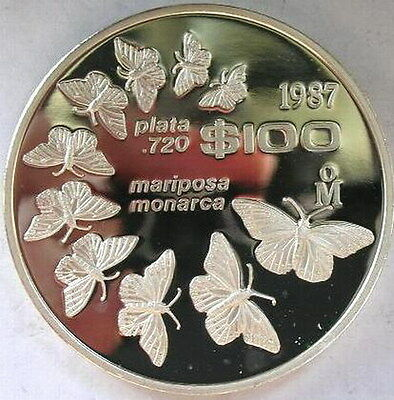 Mexico 1987 Butterfly 100 Pesos Silver Coin,Proof