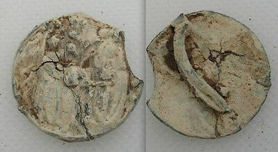 Collectable Medieval Pilgrims Badge/ Mount - Lead - Two Figures (Bishops Mire)