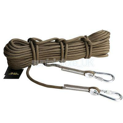 10M Outdoor Mountain Rock Climbing Escape Rescue Auxiliary Rope + Carabiners