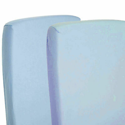 2x Fitted Sheets Compatible With Chicco Lullago Crib 100% Cotton - Blue