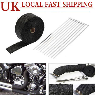 "Exhaust Manifold Downpipe Black Heat Wrap 2"" x 10m &10 Ties rap De Cat Pipe Tape"