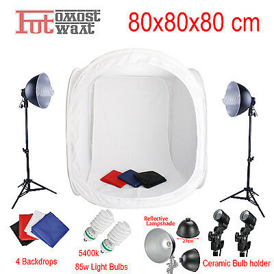 AU local  Photography Studio Soft Box Light 80x80x80cm 4 Backdrop Kit Set