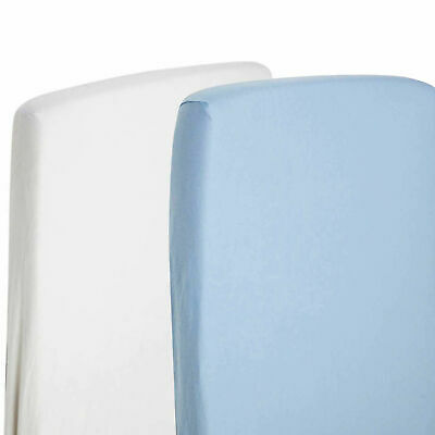 2x Fitted Sheets Compatible With Chicco Lullago Crib 100% Cotton - White/Blue