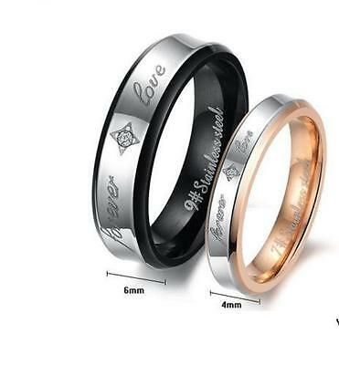 Couple Rings Engagement Bands 316L Stainless Steel Forever Love Gift US5-15 1pc