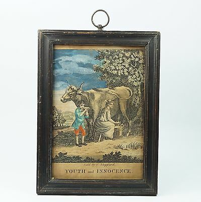 Antique 18th Century Miniature Engraving Youth And Innocence Sold By C Sheppard
