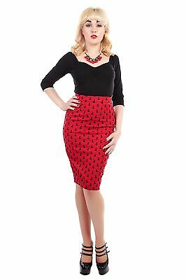 Collectif Vintage Polly Cherry Flock Pencil Skirt