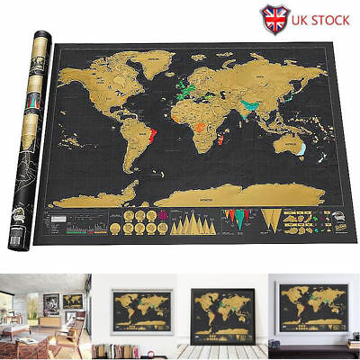 LARGE SCRATCH OFF WORLD MAP Poster Original Personalized Travel Vacation Gift UK