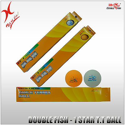 Double Fish Table Tennis Ball - 1 Star Training Grade Ball, White And Yellow