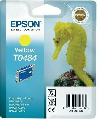 T0484 Yellow Epson New Genuine Original Ink Cartridge Seahorse