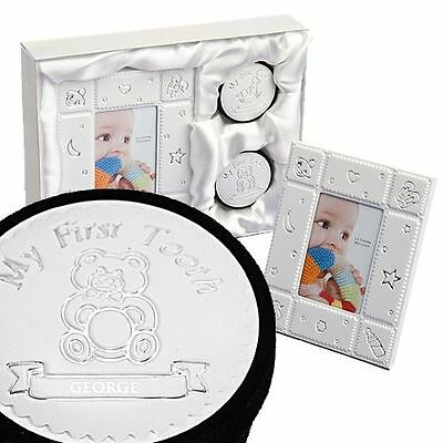 Personalized 3 Piece 1st Christening Keepsake First Baby Tooth & Curl Box Gift
