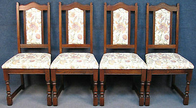 Set Of 4 Old Charm Solid Oak Tudor Brown 2067 High Back Kitchen / Dining Chairs