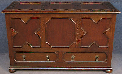 1920s Period Style Carved Oak Mule Chest / Coffer / Blanket Box