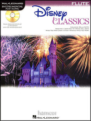 Disney Classics Flute Instrumental Play-Along Sheet Music Book with CD