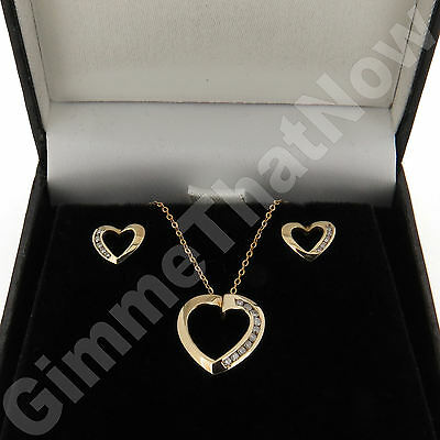 9ct Yellow Gold Diamond Heart Shape Earring Pendant Set with 18 inch Chain