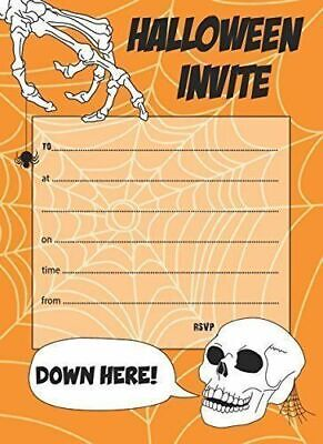 Pack of 20 Quality Halloween Party Invitations with Orange Envelopes - Invites