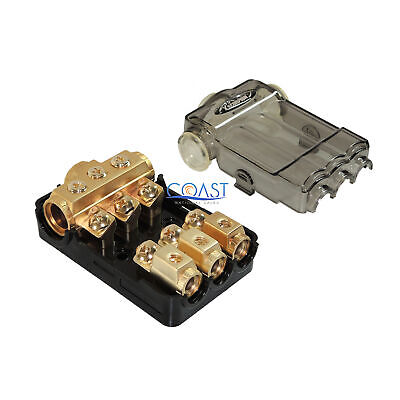 Car Stereo Gold ANL Distribution Block (3) 0/2/4 In & (3) 4/8 Ga Out w/Adapters