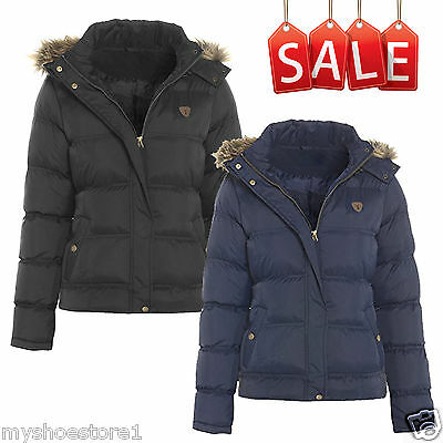 Girls Faux Fur Hooded Puffer Jacket Padded Quilted Causal Winter School Coat