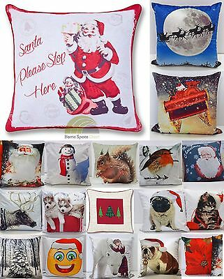 Christmas Square Scatter Cushion Cover Santa Xmas Rudolph Snowman Pillow Case