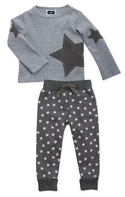 Mud Pie Unisex Baby Twinkle Star 2-Pc Top and Pants Lounge Set 1012189 Gray New