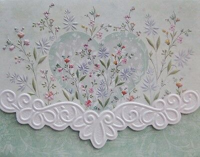 Carol Wilson Stationery 10 Note Cards Envelopes Blank Heart Floral