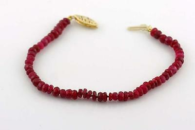 Natural Ruby Bracelet Faceted Beads 14k Yellow Gold Clasp Untreated color!