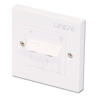 Lindy CAT6 Single Wall Plate with 2 x Angled RJ-45 Shuttered Socket, Unshielded