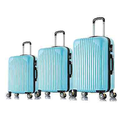 "20"" 24"" 28"" 3PC Carry On Luggage Travel Bag Spinner Suitcase ABS Trolley- Blue"
